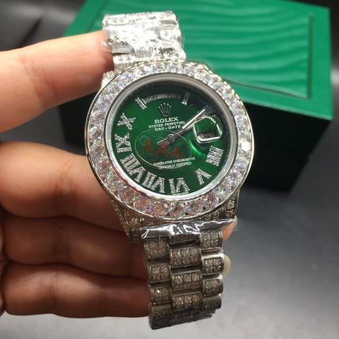 FULLY FLOODED iced out bust down rolex silver day date green dial replica  watch
