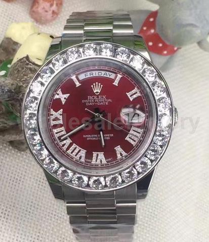 VVS LAB DIAMONDS Iced out red dial rolex Day Date replica
