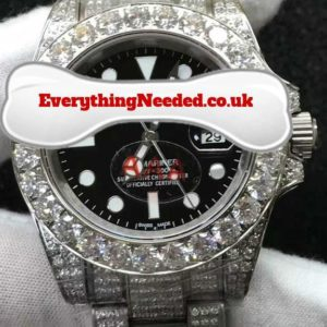 White Gold plated/steel lab diamond watch