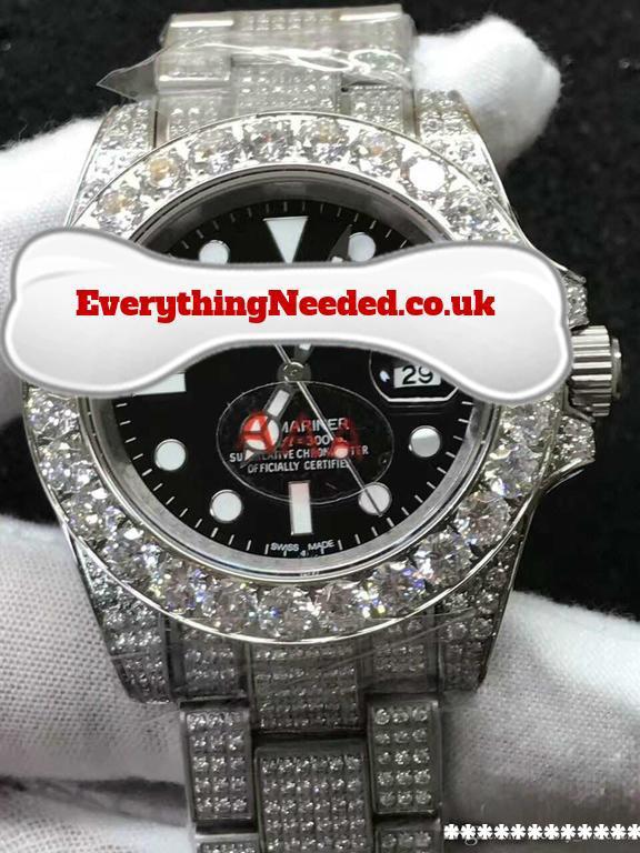 White Gold plated/steel lab diamond watch