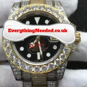 Gold/White lab diamond watch